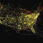 image of US map with flight paths illuminated