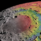 image of Orientale basin as rendered by Lunar Reconnaissance Orbiter with gravity data